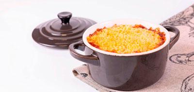 Cazuela de pato con berenjena asada y tomate