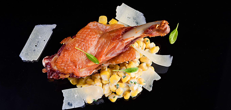 Delicias de pato con risotto de maíz