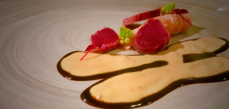 Molleja, foie gras y cigala