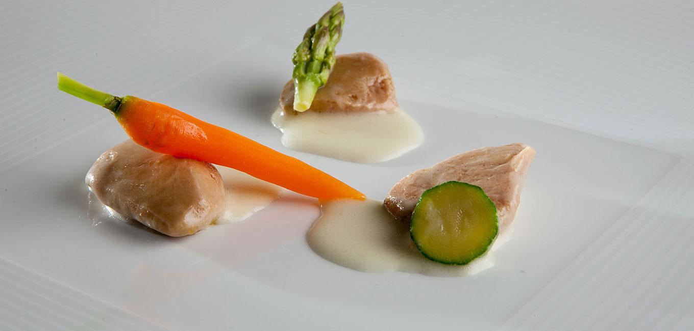 Escabeche de foie gras y verduras