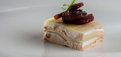 Milhojas de pulpo, patata y foie gras
